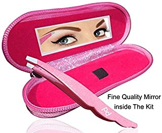 Professional Eyebrow Tweezers Pink Color, Stainless Steel Tip Tweezers, Best Precision Eyebrow Tweezers, With Protective Zipper Case and Fine Quality Mirror inside the Kit