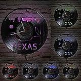 YYYFF USA Cityscape Skyline Reloj de Pared con Disco de Vinilo Houston Vintage Decoración para el hogar Suculento Texas Cactus Vinilo CD Disco Reloj Reloj de Pared con LED