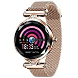 CYGGJ Fitness Tracker Smart Watch H1, Pantalla táctil Redonda IP67 Smartwatch Resistente al Agua para Mujeres, frecuencia cardíaca y podómetro del sueño, Pulsera para iOS/Android.