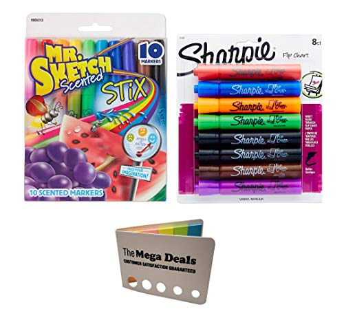 Sharpie Flip Chart Markers, Bullet Tip, Assorted Colors, 8-Count   Mr. Sketch Scented Markers, Fine Tip, Assorted Colors, 10-Count   Includes 5 Color Flag Set