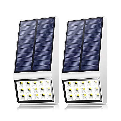 Solar Motion Sensor Light Outdoor(Weak+Medium+High Light), 120° Wide Angle Lighting, IP65 Waterproof. Bright Wireless Security Light for Deck Garage Yard Porch Fence(15 LED, 2835K, 2 Pack, White)