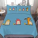 Charmander Charmeleon Charizard, juego de cama de 3 piezas, con cierre de cremallera y 2 fundas de almohada, juego de edredón para niños y niñas