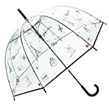 SMATI Stick Automatic Clear Stars Umbrella - Birdcage Bubble See Through (Mom and Kid) (Dog)