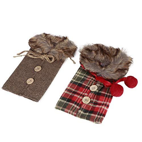 Decoraciones para fiestas navideñas, piel artificial de alta calidad fácil de usar para un amante del vino Decoración de botellas de vino, para fiestas navideñas con(Fur collar)