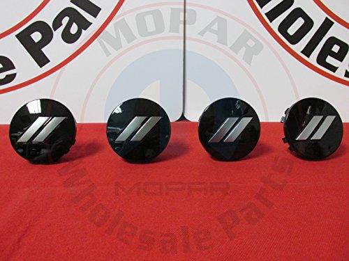 Mopar Dodge Challenger Charger Gloss Black Chrome Stripe Wheel Center Cap Set of 4 OEM