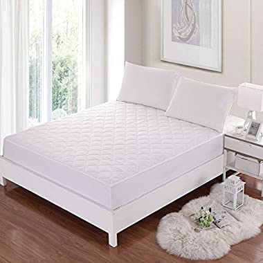 Allrange CoolMax Fiber Hypoallergenic Quilted Mattress Pad, CoolMax and Cotton Fabric Cover, Snug Fit Stretchy to 18  Deep Pocket, Polyester Fill, Mattress Protector, Queen