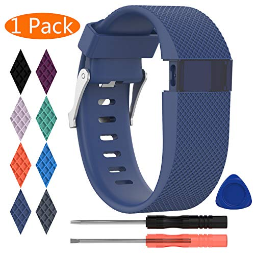 KingAcc Kompatibel Charge HR Armband, Weiche Silikon Ersatz Armbänder Armband für FitbitCharge HR, Metall Schnalle Fitness Armband Uhrenarmband Frau Männer 1-Pack, Dunkelblau, klein