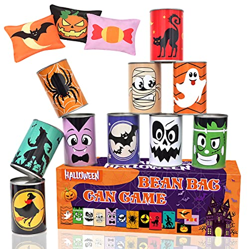 Aitok Halloween Carnival Game Halloween Party Games Bean Bag Toss Game for Kids and Adults, Carnival Party Tin Can Alley Game for Teens Holiday Indoor Outdoor Yard with 10 Tin Cans & 3 Bean Bags