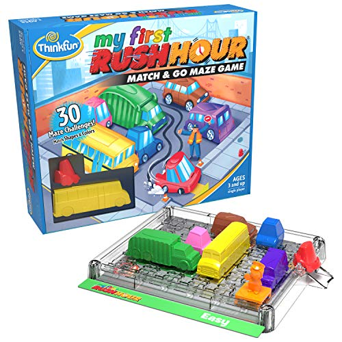 Think Fun My First Rush Hour STEM Toy and Brain Game for Boys and Girls Age 3 and Up  A Match and Go Maze Game​