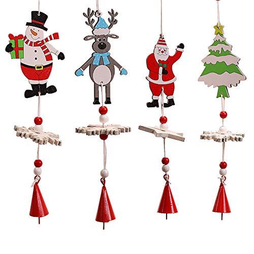 Weisipu 4 campanillas de viento creativas de madera con diseño de copo de nieve, campanas de muñeco de nieve para colgar en el árbol de Navidad, decoración al aire libre