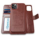AMOVO Case for iPhone 11 Pro (5.8'') [2 in 1] iPhone 11 Pro Wallet Case Detachable [Vegan Leather] [Hand Strap] [Stand Feature] iPhone 11 Pro Flip Folio Case Cover with Box Package (Brown)