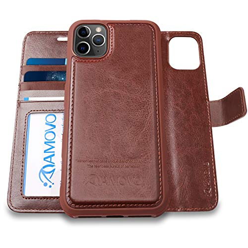 AMOVO iPhone 11 Pro Max Wallet Case [2 in 1 Detachable] Vegan Leather Case for iPhone 11 Pro Max (6.5'') [Wristlet] [Kickstand] iPhone 11 Pro Max Folio with Gift Box Package (11ProMax (6.5'') Brown)