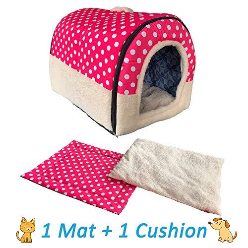 ANPPEX Igloo Dog House, Portable Cat Igloo Bed with 2 Removable Cushions, Washable Cozy Dog Igloo...
