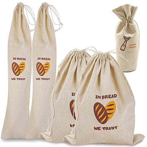 Linen Bread Bags, Pack of 4 Natural Unbleached Bread Bags, Reusable Drawstring Bag for Loaf, Baguette and Homemade Artisan Bread Storage, Linen Bag for Food Storage, Bonus Wine Canvas Bag