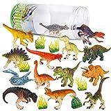 Vanplay 21PCS Dinosauri Giocattolo Decorazioni per Torte con Secchio di Stoccaggio per Bambini