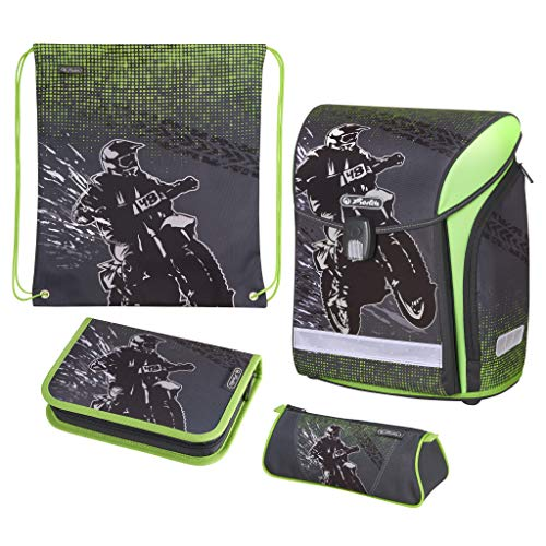 herlitz 50020423 Schulranzen Midi Plus Motorcross, 1 Stück