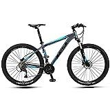 Xiaoyue 27.5 Pollici Bici di Montagna, Adulto Uomini Hardtail Mountain Bike, Doppio Freno a Disco in Alluminio Telaio della Bicicletta della Montagna, Sedile Regolabile, Blu, 27 velocità lalay