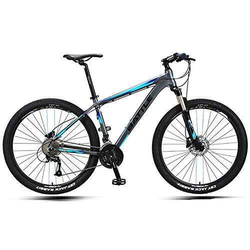 Xiaoyue 27,5-Zoll-Mountainbikes, Männer Hardtail Mountain Bikes, Doppelscheibenbremse Aluminiumrahmen-Gebirgsfahrrad, Verstellbarer Sitz, Blau, 30 Drehzahl lalay