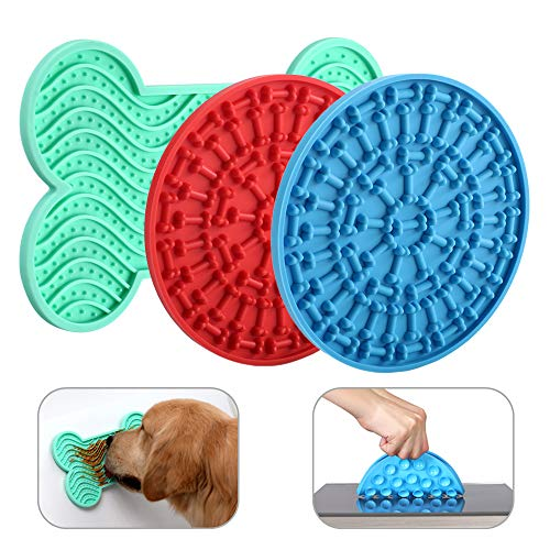 Dog Licking Mat 3-Piece Set - Dog Peanut Butter Lick Pad - BPA FREE and NON-TOXIC - Super Strong Suction to Wall - Reduce Pet Anxiety with this Dog Bath and Dog Training Toy - Colors Green, Blue, Red