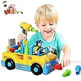 ACTRINIC Baby Spielzeug multifunktionale Konstruktion auseinander nehmen Spielzeug,Werkzeug Lastwagen für Kinder Spielzeug 3+mit Bohrmaschine und Elektrowerkzeuge für Montage,Musik...