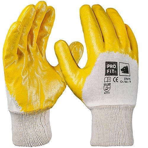 PRO FIT 12 Paar - Basic Nitril-Handschuh, gelb, 3/4 beschichtet, Strickbund 10
