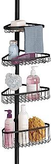 mDesign étagère de douche télescopique – serviteur de douche à fixation facile – étagère d'angle extensible pour shampoing...