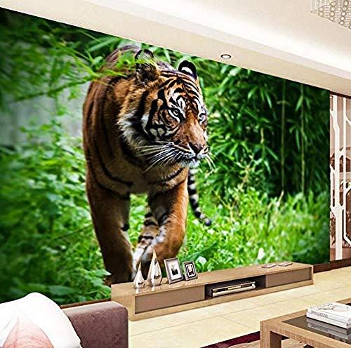 XHXI Photo Wallpaper 3D Stereo Tiger Forest Green Tree Murals Wallpapers Living Room TV Backdrop Wall Home Decor 3D Wallpaper Living Room The Wall for Bedroom Mural border-430cm×300cm