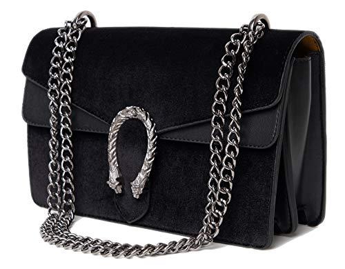 Course Handtasche mit Samt - Tasche mit Kette und Kettenhenkel - Damen Umhängetasche