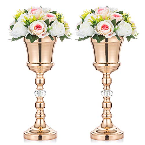 2 Pcs Tabletop Metal Wedding Flower Trumpet Vase with Crystal, Table Decorative Centerpiece, Artificial Flower Arrangements for Anniversary Ceremony Party Birthday Event Aisle Home Decoration, Gold