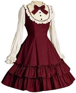 GBYAY Vestido de Fiesta en Capas de Manga Larga Bowtie para Mujer Disfraz de Cosplay para Fiesta de Halloween