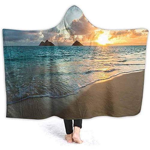 Henry Anthony 60X50 Zoll Decke mit Kapuze Throw, Scenic Sunrise Over Ocean Rocks Sand Wolken Sonnenschein Flut Sonnenstrahl Küste Yell Wele Decke Mantel