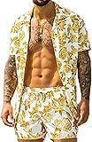 Conjuntos de Camisas para Hombre, Conjuntos de Pantalones Cortos y Blusa de Manga Corta con Estampado de Playa de Verano de 2 Piezas (Yellow,XXL)