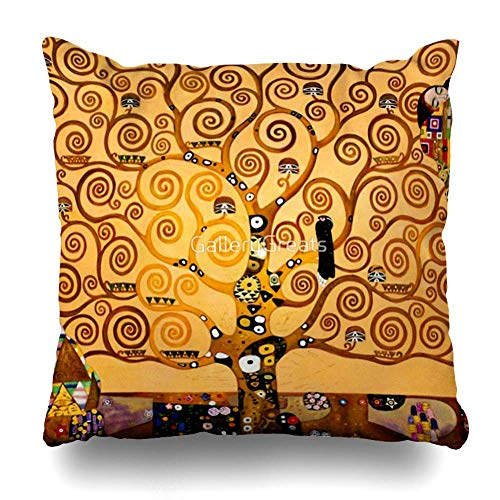 Mesllings Throw Pillow Cover Square 16x16 Inches Tree of Life by Gustav Klimt Fine Art Decorative Pillow Case Home Decor Pillowcase
