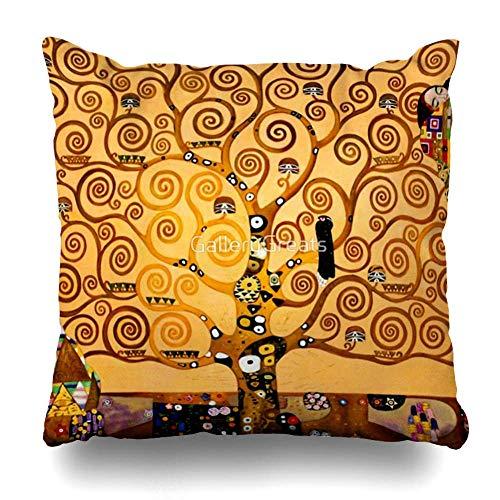 Mesllings Federa per cuscino quadrata, 40,6 x 40,6 cm, motivo: albero della vita di Gustav Klimt, decorazione per la casa