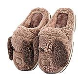 Zapatillas Perros Zapatillas Animales Divertidos Pantuflas Mujer Hombre Invierno casa Pantuflas niños Mayores Comodo Adultos Felpa Dibujos Animados Calientes Zapatos (Brown, Numeric_43)