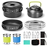 Odoland 16pcs Camping Cookware Kit with Folding Camping Stove Suit 2 People, Non-Stick