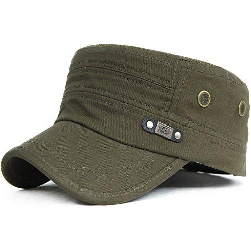 Kuyou Unisex Army Military Flat Cap Vintage Cotton Baseballmütze Kappe, 009Oliv, Einheitsgröße