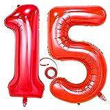 Jrzyhi Globos con números para 15 cumpleaños, color rojo, tamaño grande, número 15, helio, número 15, número XXL, número 15, para cumpleaños, bodas, fiestas, decoración, 100 cm