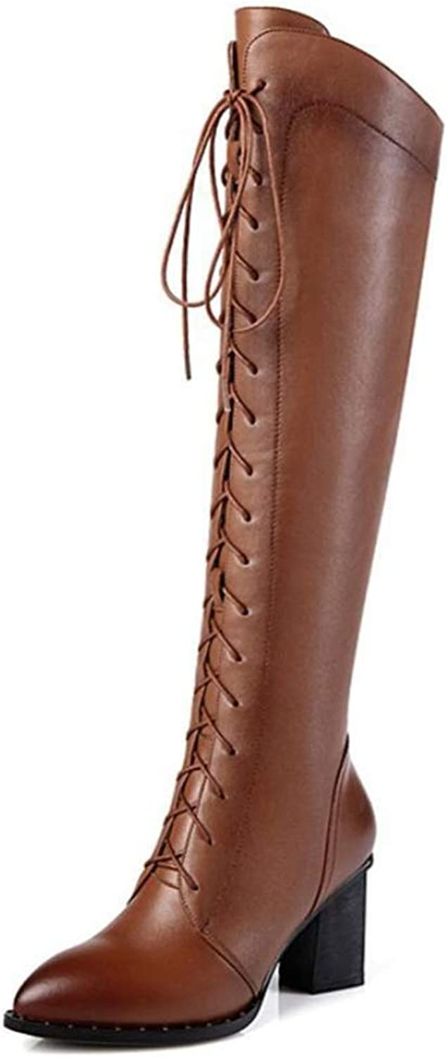 Shiney Women's Leather Boots for Autumn and Winter Warm Plus Velvet Martin Boots Pointed Thick Stick Cross Straps Boots Women's High Heel