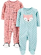 Two long sleeve footed sleep and play suits in baby soft fleece Ankle to chin snaps or zipper with snap over tab and scalloped picot trim at necklines Fold over cuffs featured only on sizes preemie and newborn. Product sizes 0-3M, 3-6M, and 6-9M do n...