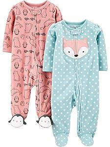 Simple Joys by Carter's 2-Pack Fleece Footed Sleep and Play para bebés y niños pequeños, Rosa, Zorro/Animal, 6-9 Meses, Pack de 2