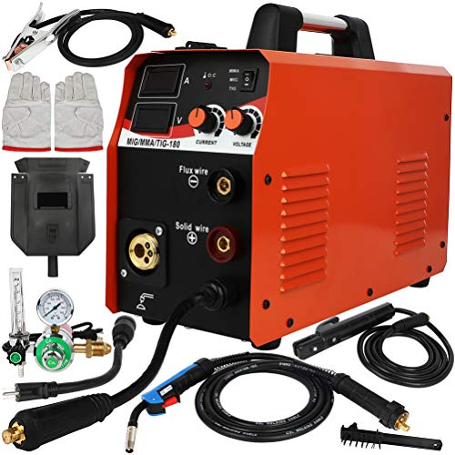 Homegreg Dual Gas (CO2 or Argon) Low Welding Cost 180 Amp Inverter Multi Process Welder MIG/TIG/Arc Stick 3 in 1 welding machine 110/220V dual voltage