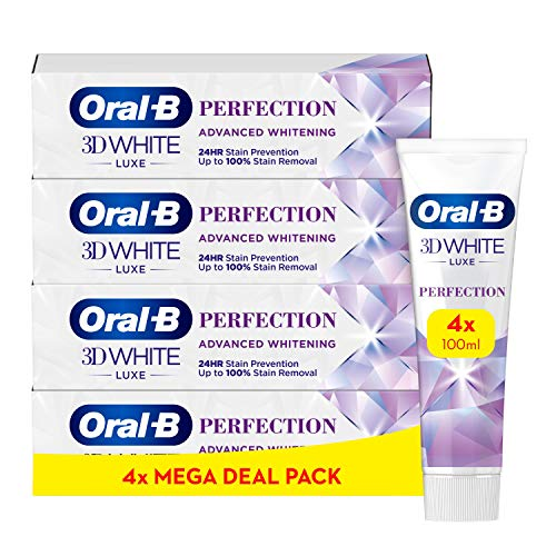 Oral-B 3DWhite Luxe Perfection Toothpaste 4 x 100 ml, Pack of 4 Tubes of 100 ml, Shipped In Eco-Friendly Recycled Carton