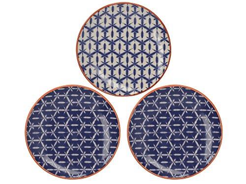 Creative Tops Drift - Juego de 3 platos laterales de cerámica decorados a mano, 15 cm, color azul y blanco