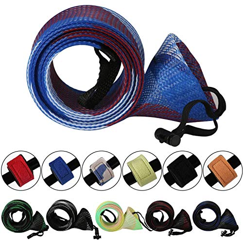 Rod Cover Sleeve,6 Pack Fishing Rod Socks for Fly Spinning Casting Sea Rod, Braided Mesh Fishing Pole Gloves Protector Gear w/ 6 Pack Rod Ties Straps,Fishing Accessories Tools,1 Dozen Kit by STSTECH