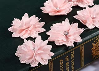 CraftbuddyUS 10 Gorgeous Pink Crystal Glass Diamante Stick on,Sew On Fabric Flower Motifs Craft