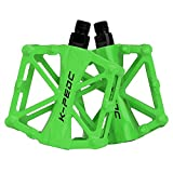 boruizhen Bike Platform Pedals Lightweight Road Cycling Bicycle Pedals for MTB BMX (Green)