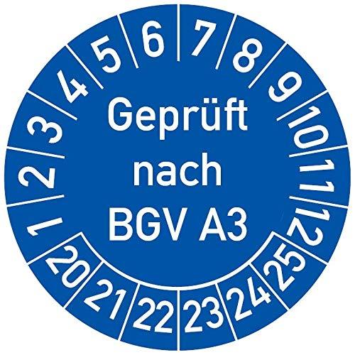Geprüft nach BGV A3 Prüfplakette, 100 Stück, in verschiedenen Farben und Größen, Prüfetikett Prüfsiegel Plakette (30 mm Ø, Blau)
