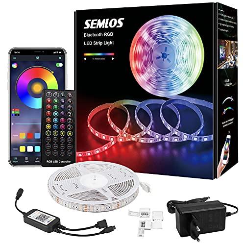 Semlos LED Strip, 5M Bluetooth Wasserdicht RGB Musik LED Streifen, App-steuerung und Fernbedienung 300 LEDs mit 16 Millionen Farben, für Party, Schlafzimmer, HDTV, PC, Küche
