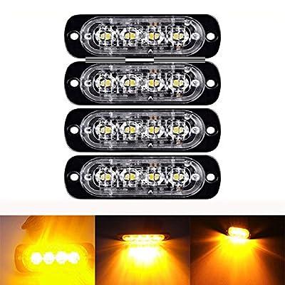 LED Flash Warning Light, Northbear Car Truck Amber Emergency Light Front Rear Side Hazard Strobe Warning Lamp 12-24v